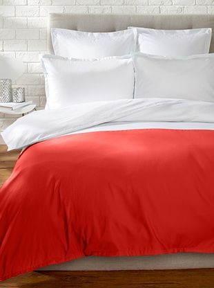61% OFF Blissliving Home Colorblock Duvet Set (Coral/White)