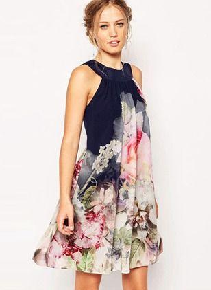 Polyester Blumen Ärmellos Über dem Knie Lässige Kleidung Kleider