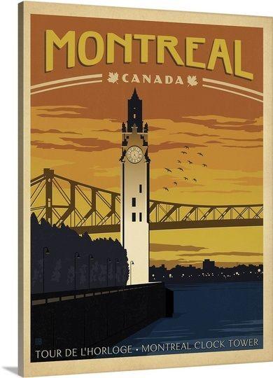 """Montreal, Canada"" by Anderson Design Group via @greatbigcanvas #canvasprint #vintageart"