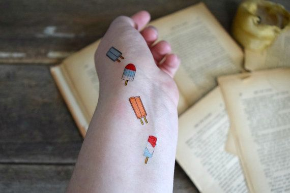 Temporary Tattoo Set of 4 - Summer Tattoo, Kids, Popsicle, Colorful, Yummy, Tiny tattoo