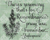 Digital Download Rosemary for Remembrance Quote Typography digi stamp ...
