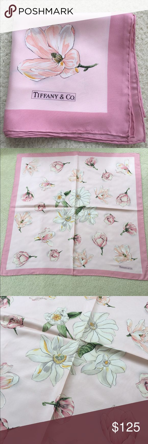 Tiffany & Co. scarf - 100% silk - pink flowers. Authentic Tiffany & Co. 100% Silk scarf, gorgeous!! This has the most feminine design, really beautiful but I rarely wear scarfs anymore. 34 inches square. This could use dry cleaning and is reflected in the price. Please feel free to ask questions. It's really gorgeous and such a waste sitting in my drawer. No trades please. Tiffany & Co. Accessories Scarves & Wraps