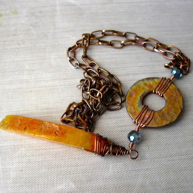 Long Copper Boho Statement Necklace - Jewelry creation by Raziela Designs