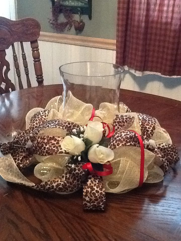 Cheetah Print Wedding Centerpiece Glass vase NOT included $30.00 SouthernMesh on Etsy Custom Orders