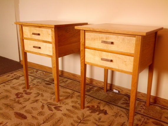 Beautiful $250/pr Cherry/Maple Two Drawer Night Stands Matched Pair By Jorjwood