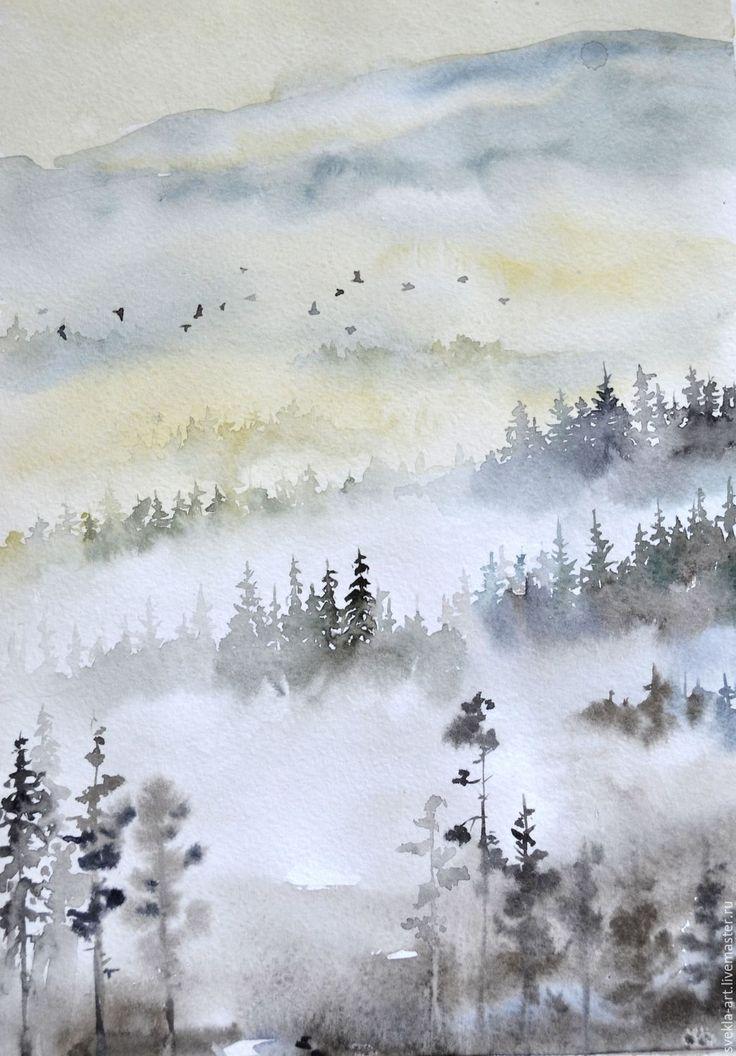 """Купить Картина акварелью """"Туманные дали"""" - комбинированный, туман, пейзаж, акварель, картина в подарок"""