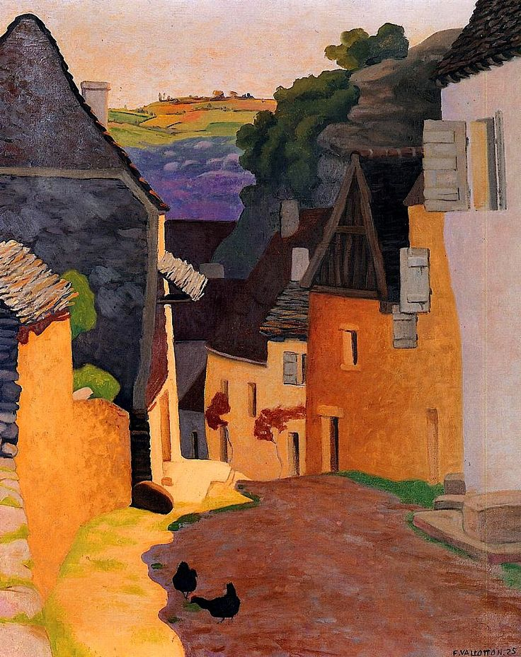 Rocamadour Landscape / Felix Vallotton - 1925. Félix Edouard Vallotton was a Swiss painter and printmaker associated with Les Nabis. He was an important figure in the development of the modern woodcut