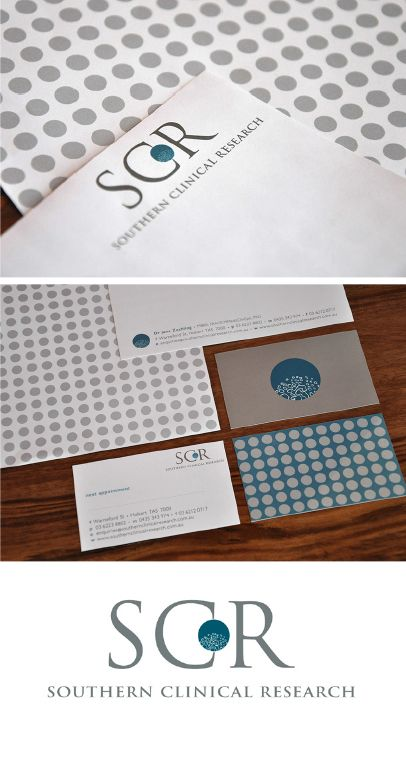 Southern Clinical Research logo, stationery design and photo by Jane Valentine.