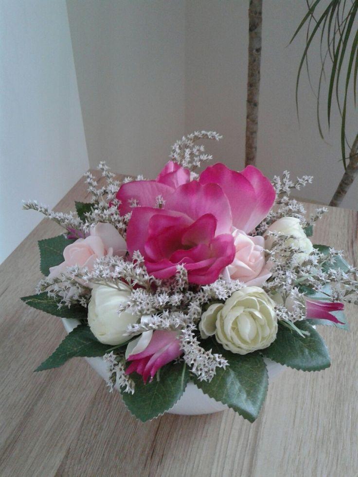 Keramická+mísa+s+květinami+Trvanlivá+celoroční+dekorace.+Průměr+24cm,výška+16cm.