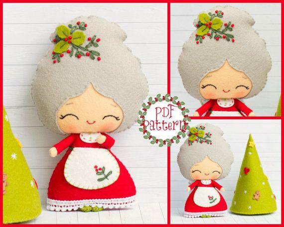 Patrón de PDF. La señora Santa con un árbol de Navidad