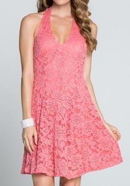 Coral Dress - Lace Dress - Halter Dress - Coral Lace Dress - $42.00 – Ledyz Fashions Boutique