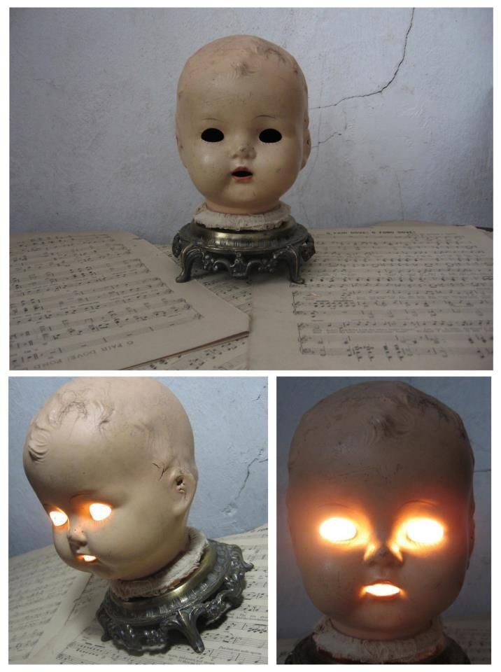 "Wild Things Antiques ""Cracked in the Head macabre Dolly Lamp"""