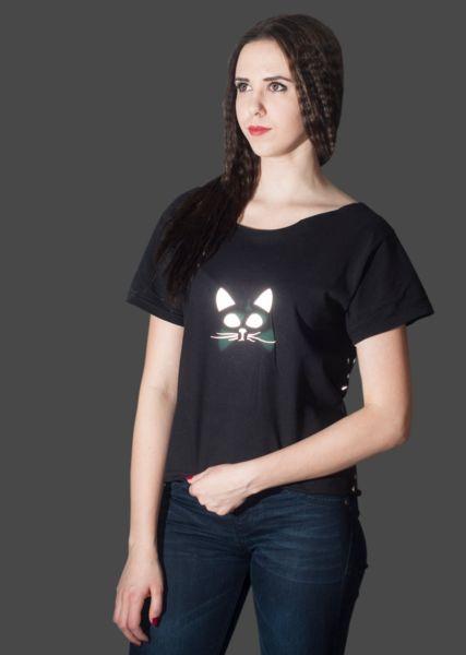 T-SHIRT ODBLASKOWY- KOT - Odblaskomat - Koszulki z aplikacją