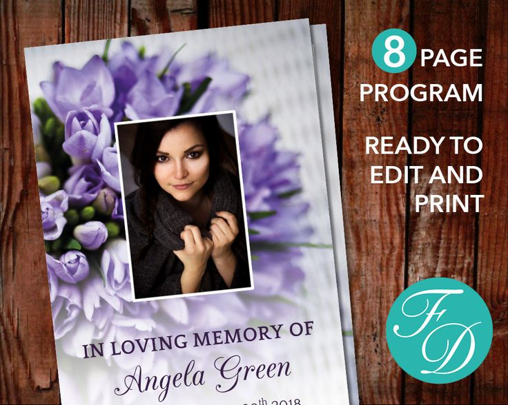 175 best 8 Page Funeral Program Templates images on Pinterest - how to make a funeral program in word