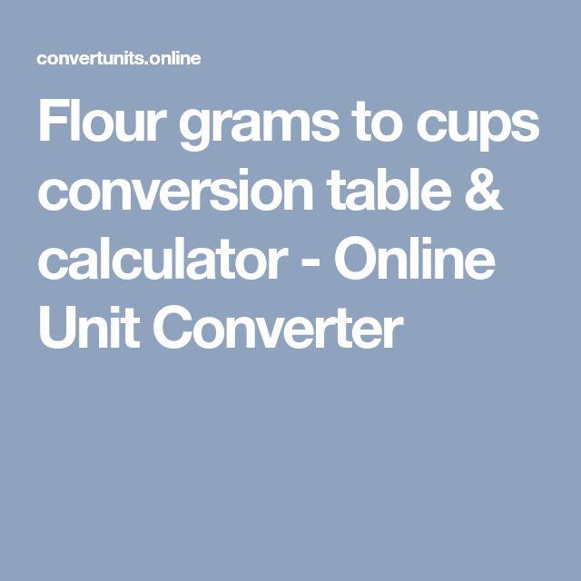 Flour grams to cups conversion table & calculator - Online Unit Converter