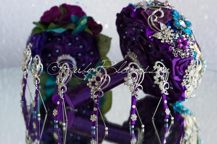 Peacock Wedding brooch bouquets package - Epic Romance