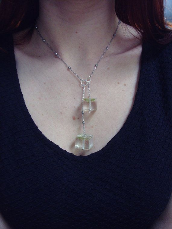 Two resin cubes necklace with olivines by zusnA on Etsy