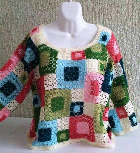 TJ Blusa Quadrados Dois Tamanhos - Grupo Trama Mágica Crochet Arte  Parei esta blusa mas assim que voltar à tecer atualizo esta postagem.  R...