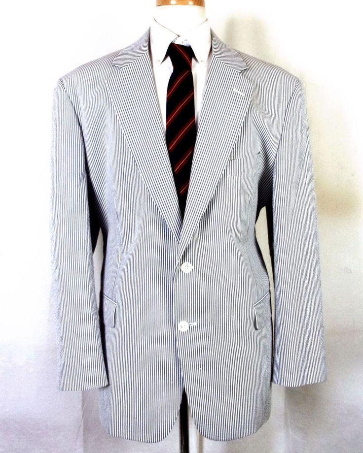 euc Brooks Brothers Blue/White Stripe Camvassed Seersucker Blazer Sportcoat 46 R #BrooksBrothers #TwoButton