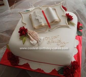 Homemade Pastor Appreciation Cake: This Pastor Appreciation cake is a triple layer cake that was torted with buttercream and strawberry filling. The Cake was covered in white fondant,