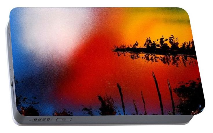 Dawn Twilight Portable Battery Charger Printed with Fine Art spray painting image Dawn Twilight by Nandor Molnar (When you visit the Shop, change the orientation, background color and image size as you wish)