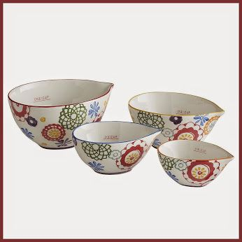 Zinnia Ceramic Measuring Cups – Set of 4 These measuring cups are hand painted.  They come in 4 sizes 1 cup, 1/2 cup, 1/3 cup, and 1/4 cup. http://theceramicchefknives.com/ceramic-measuring-cups/