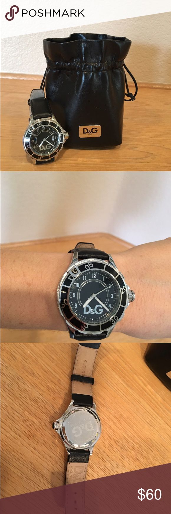 """D&G Dolce & Gabbana """"New Anchor"""" women's watch D&G Dolce & Gabbana """"New Anchor"""" oversized women's watch in black. Stainless steel. Genuine leather band. New battery installed. Gently used. No instruction manual. Dolce & Gabbana Accessories Watches"""
