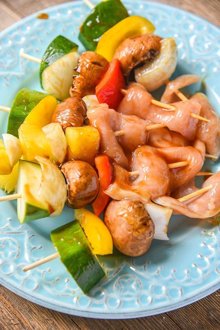 Teriyaki Chicken Kabobs with veggies and our secret weapon chicken kabob marinade. This kabob recipe is great for kids and adults! Ready for the grill!