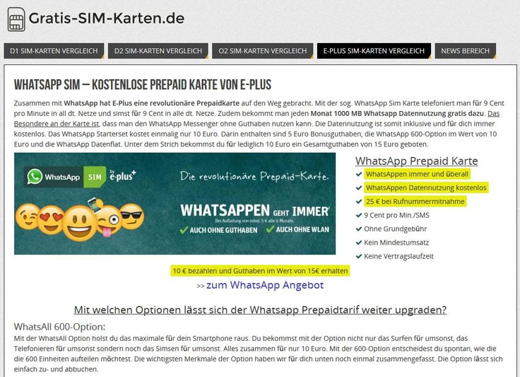 Rechnerisch kostenlose Whatsapp SIM-Karte mit 15 € Startguthaben für nur 10 €. Link: http://www.gratis-sim-karten.de/whatsapp