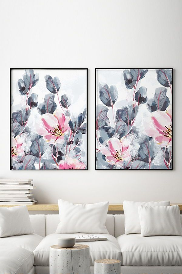 Set Of 2 Floral Art Prints With Grey Leaves And Pink Flowers Large Bedroom Wall Art Watercolour Floral Prints Art Floral Wall Art Canvases Floral Wall Art