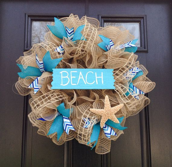 Beach Wreath Summer Wreath Deco Mesh Wreath by JadieAcresFarm, $65.00