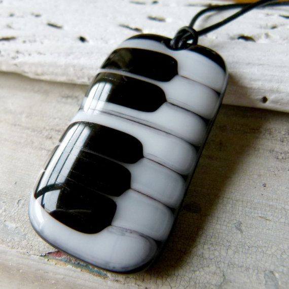 Piano necklace  fused glass jewelry  Fused glass by ArtoftheMoment, $25.00