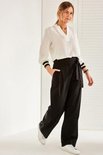 Siyah Cigarette Yüksek Bel Kadın Pantolon