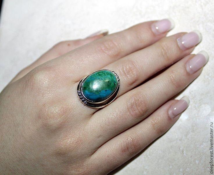 Купить Кольцо Хризоколла - тёмно-бирюзовый, морская волна, хризоколла, кольцо, серебряное, серебро