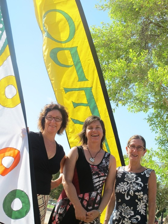 Check out our bright new beautiful flags outside Magabala Books in Broome. We are OPEN for business my friends ... Photo of Rachael Christensen, Anita Field and Lynne Bunney.