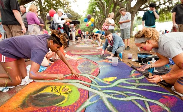 Sidewalk Art Festival in Savannah  Open-air gallery    The public, from near and far, is invited to visit the inspiring scene of chalk-covered SCAD artists transforming the park into an outdoor museum of jaw-dropping street paintings.