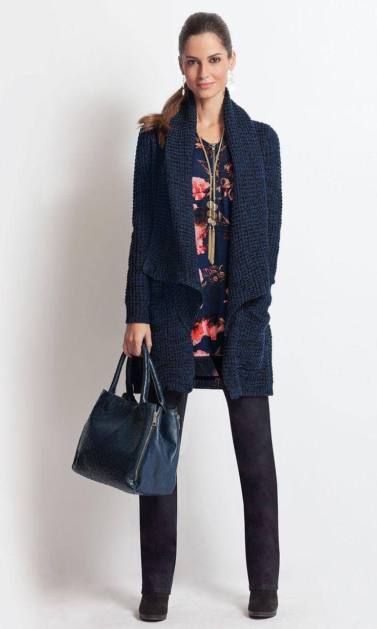 together®/MD Women's Shawl-Front Chunky Knit Cardigan #searswishlist