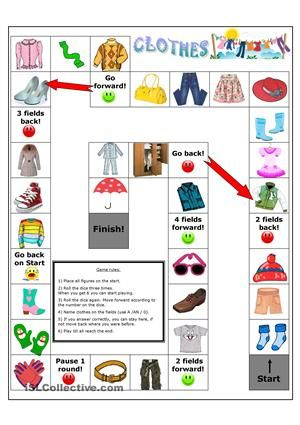 Clothes board game to practice clothes vocabulary, also with singular and plural, colours, or spelling with. - ESL worksheets
