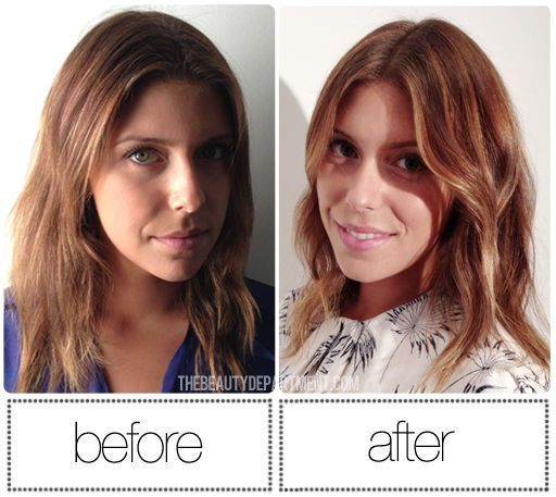 before and after at home hair glazing