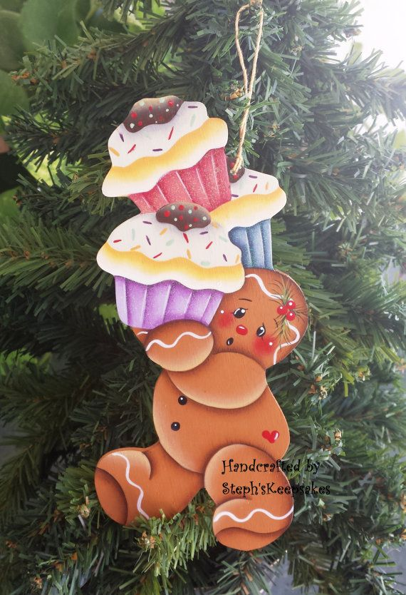 Handpainted  Christmas Gingerbread  Cookie Ornament, Wooden Ornaments, Cupcakes, Glitter, Christmas crafts, Christmas Tree Decoration,