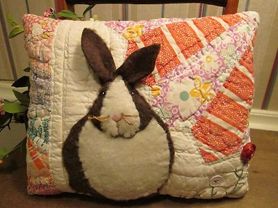 PRIMITIVE Bunny Rabbit Applique PILLOW made from ANTIQUE Grandmothers Fan QUILT. Would love this for Easter.