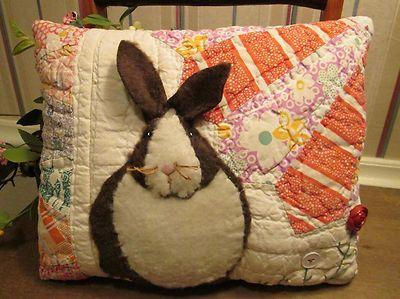 PRIMITIVE Bunny Rabbit Applique PILLOW made from ANTIQUE Grandmothers Fan QUILT