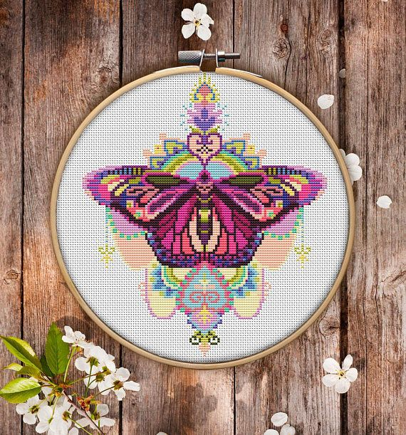 This is modern cross-stitch pattern of Mandala Butterfly for instant download.  You will get 7-pages PDF file, which includes: - main picture for your reference; - colorful scheme for cross-stitch; - list of DMC thread colors (instruction and key section); - list of calculated thread length  The size of the picture is 19.05 x 22.13 cm | 7.50 x 8.71 inches - 130 X 130 stitches on Aida 14 count  It is a digital pattern and will be available to download when the payment will be received.  If…