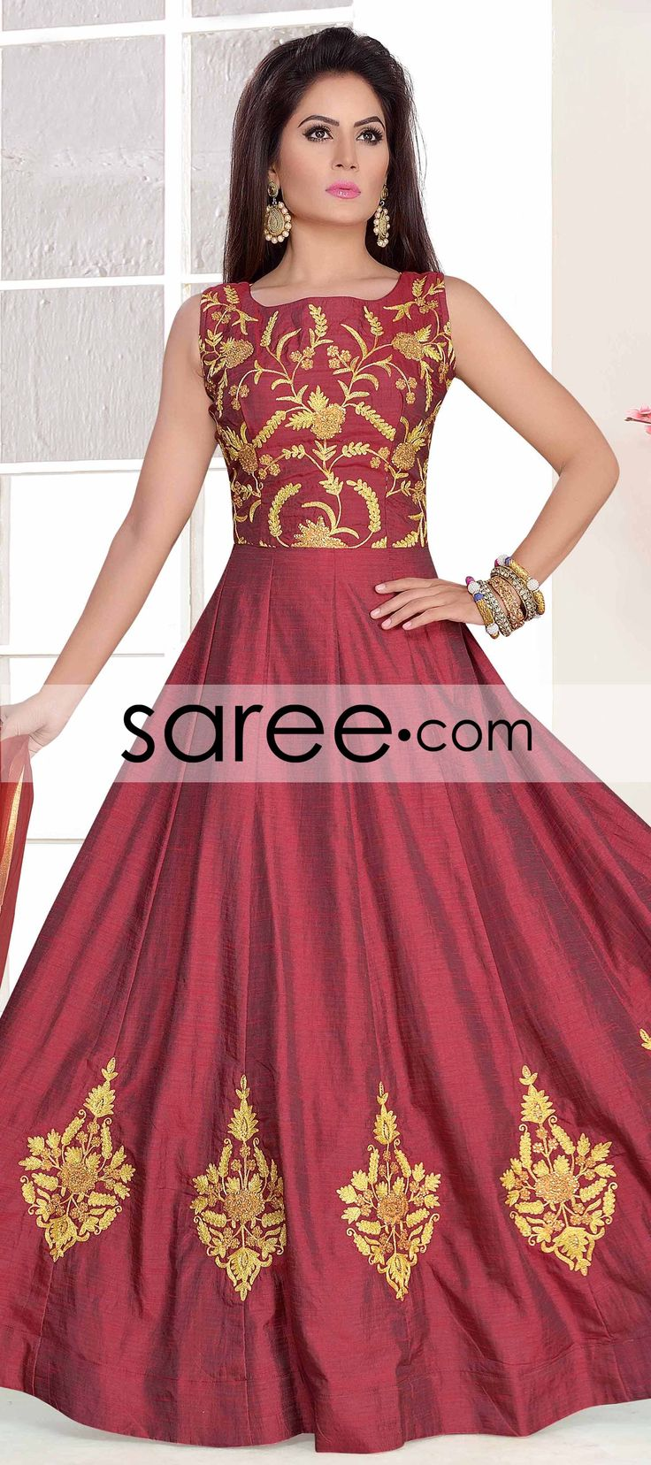 Maroon Silk Anarkali Suit With Zari Embroidery Work