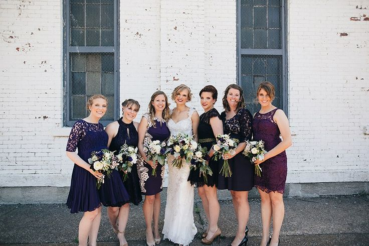 Jewel-tone Wedding with Americana Influences - Maggie Bride Korrin wearing Jade by Maggie Sottero  —  Lace Back Detail Wedding Dress: Maggie Sottero - Jade  —  Dark Purple / Plum / Aubergine / Eggplant Mismatched Bridesmaids Dressed: ModCloth & Adrianna Papell  —  Photography: Swatch Studios http://www.swatch-studios.com/