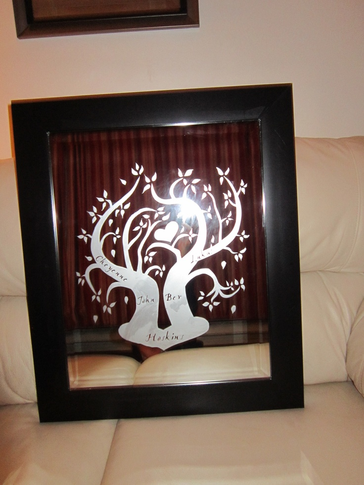 one of the family trees I etched, the names of the family are inside the trunks. www.facebook.com/madewithlovebyraeannbrown