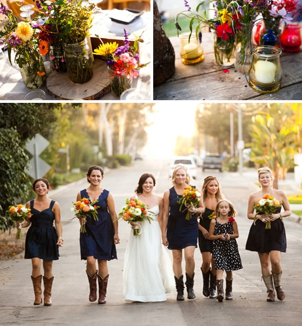 Love the navy and boots. Maybe heels to the church for the ceremony then boots to the farm to party :)
