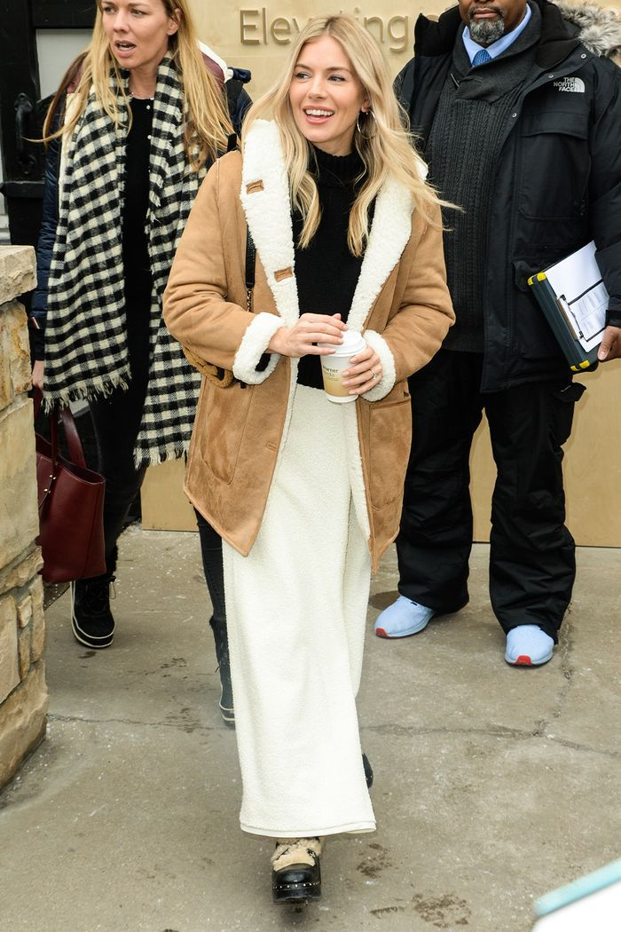 Sienna Miller Just Found The Coolest Coat In Mango And It S Still In Stock In 2020 Faux Shearling Jacket Sienna Miller Cool Coats