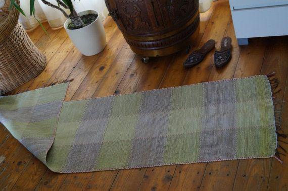 Vintage Swedish rag rug Floor runner Hand woven by vintagdesign