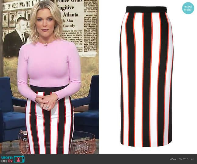 b11ae14d6a0989 Megyn s striped midi skirt on Megyn Kelly Today. Outfit Details  https